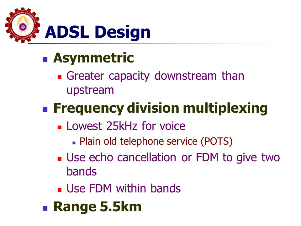 ADSL Design Asymmetric Frequency division multiplexing Range 5.5km