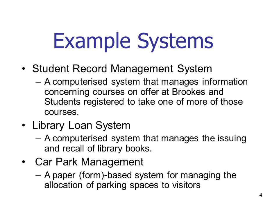 Example Systems Student Record Management System Library Loan System