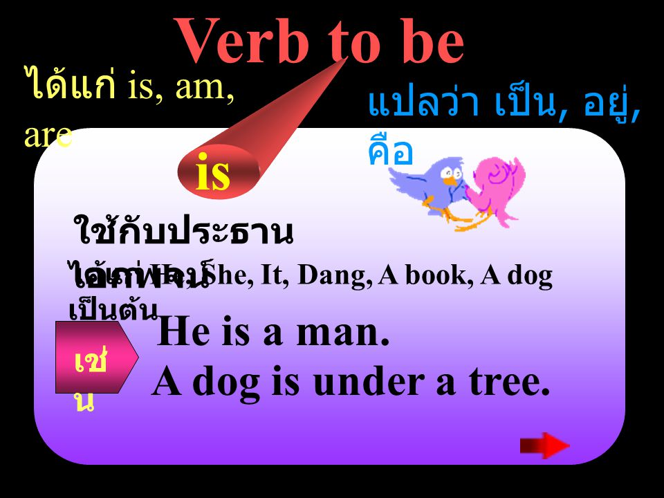 Verb to be is He is a man. A dog is under a tree. ได้แก่ is, am, are
