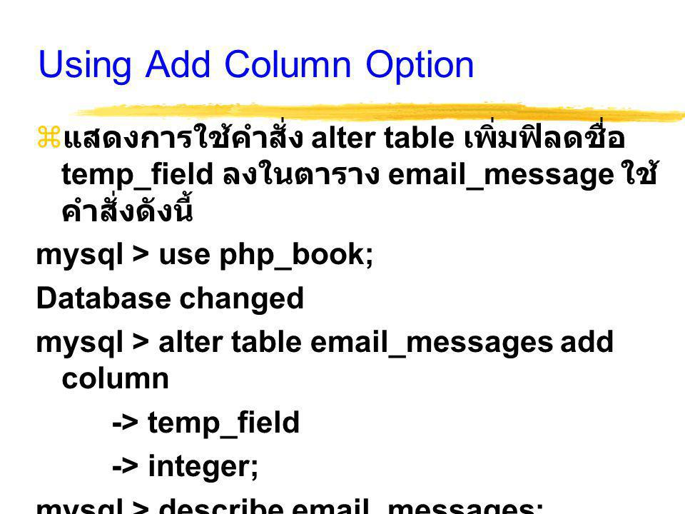 Using Add Column Option