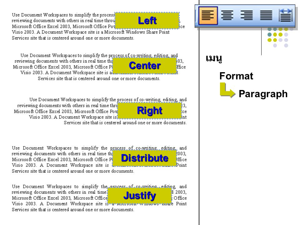Left เมนู Format Paragraph Center Right Distribute Justify