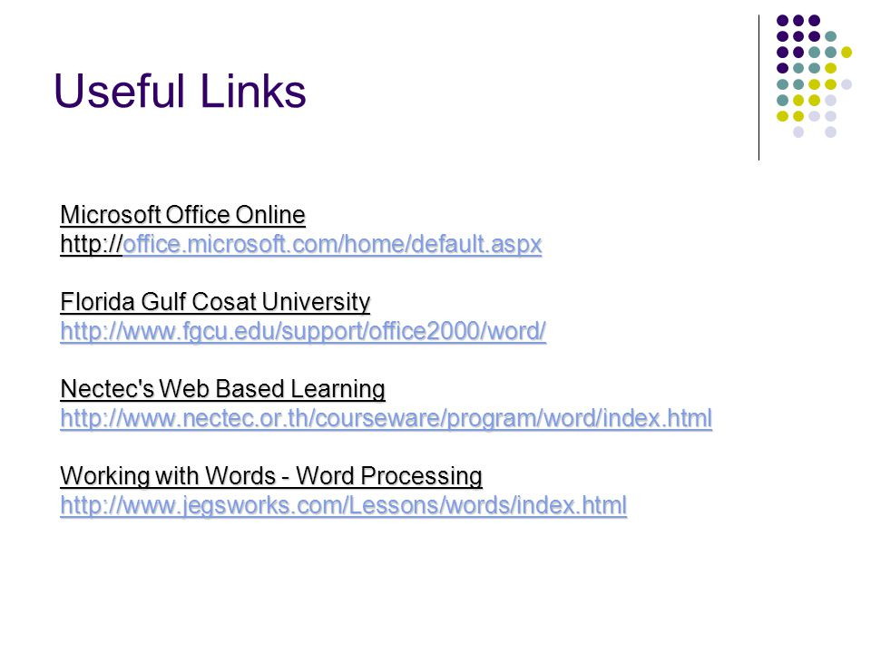 Useful Links Microsoft Office Online