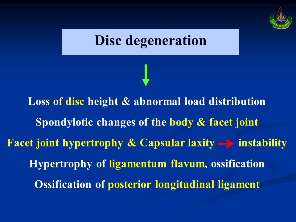Disc degeneration Loss of disc height & abnormal load distribution