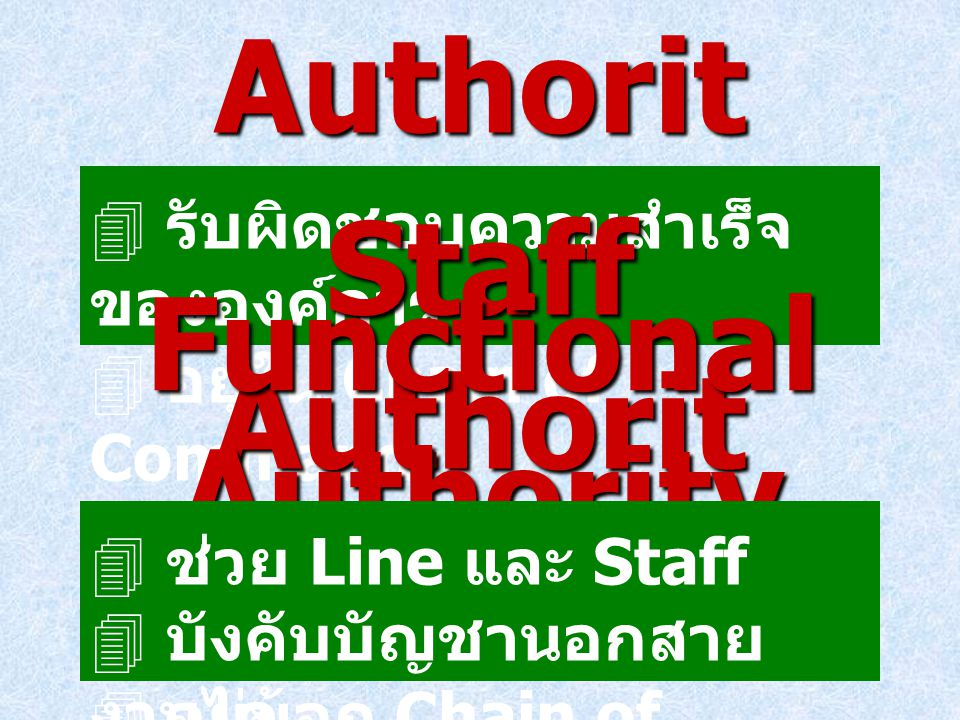 Line Authority Functional Authority Staff Authority