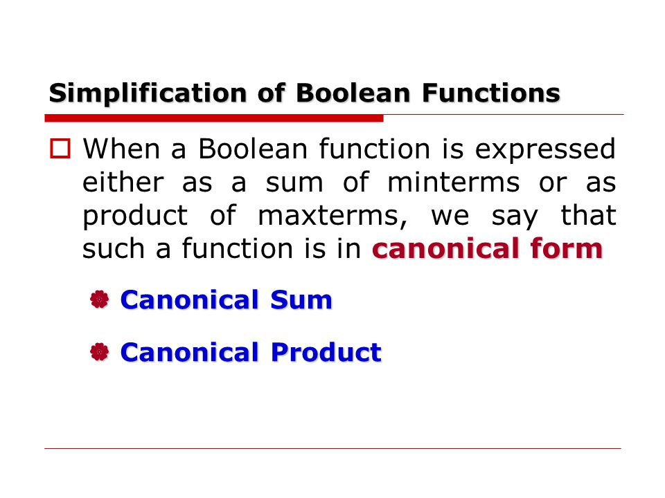 Simplification of Boolean Functions