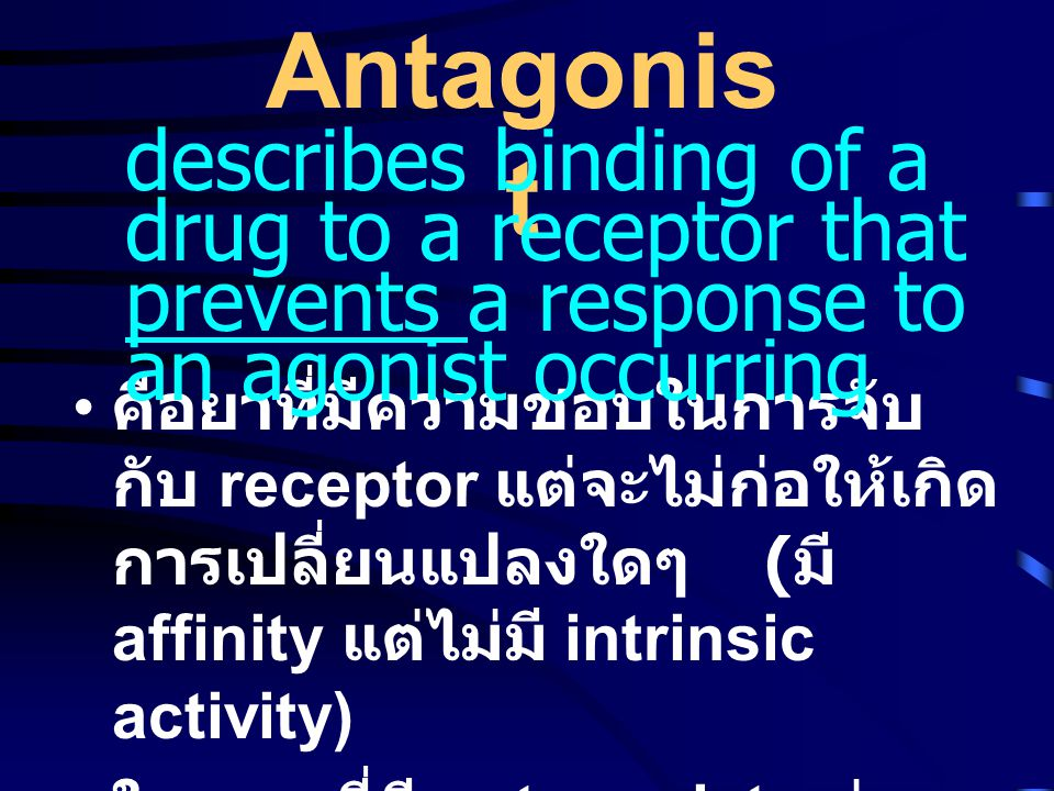Antagonist describes binding of a drug to a receptor that prevents a response to an agonist occurring.