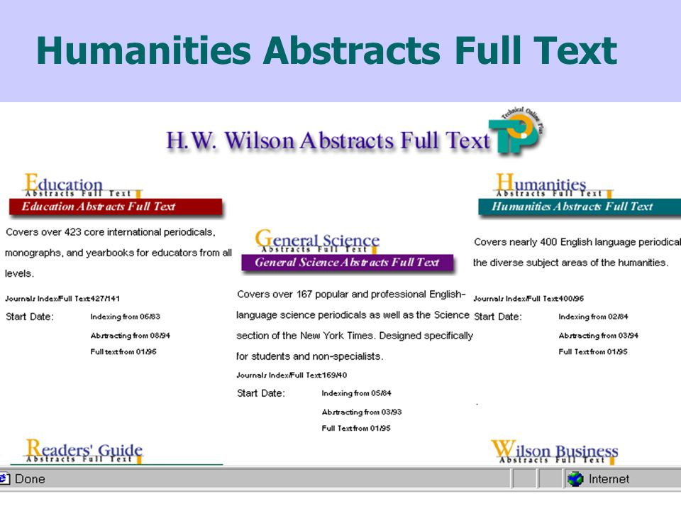 Humanities Abstracts Full Text