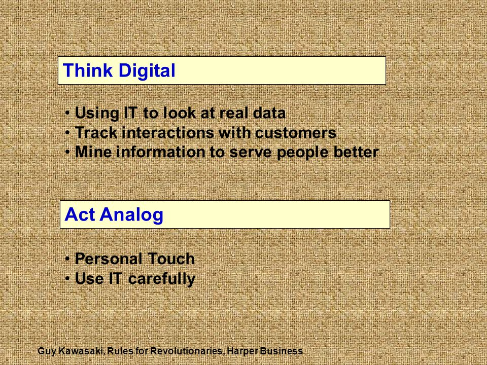Think Digital Act Analog Using IT to look at real data