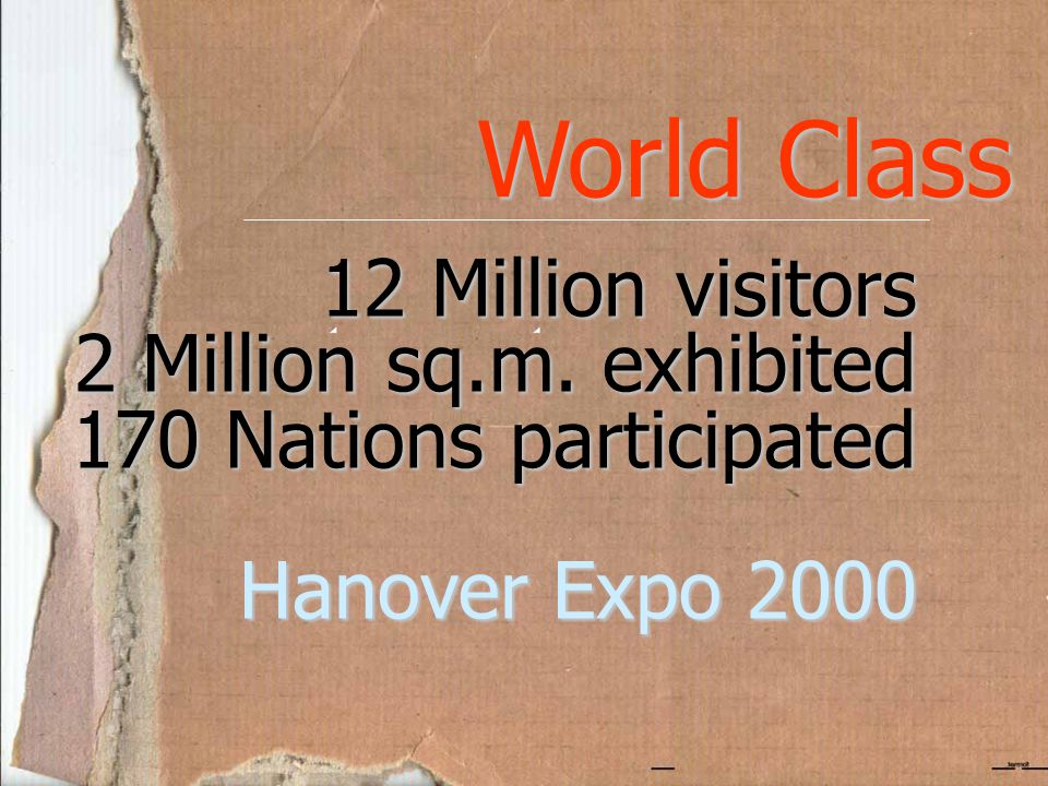World Class 12 Million visitors 2 Million sq.m. exhibited