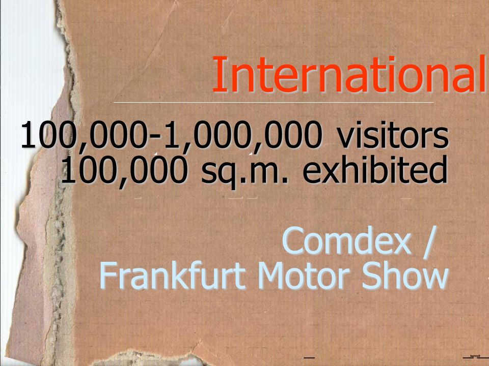 International 100,000-1,000,000 visitors 100,000 sq.m. exhibited