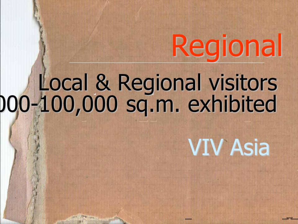 Regional Local & Regional visitors 10,000-100,000 sq.m. exhibited