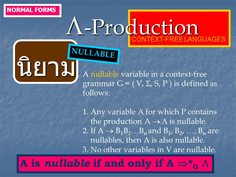 นิยาม -Production A is nullable if and only if A *G  NULLABLE