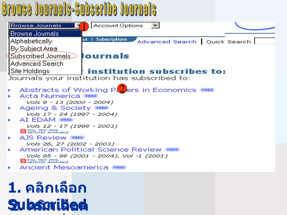 Browse Journals-Subscribe Journals