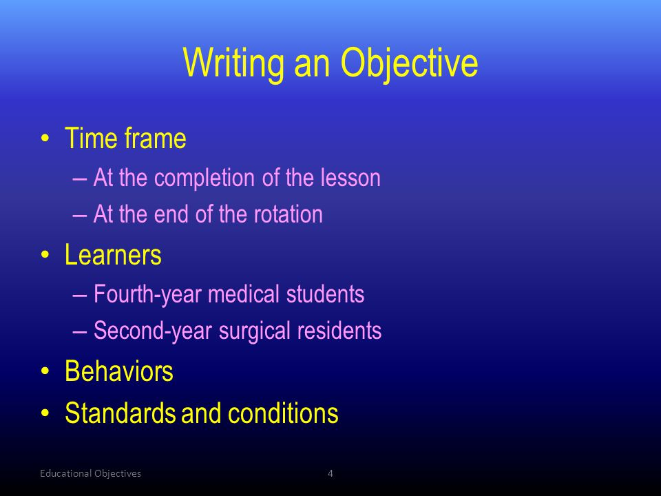 Writing an Objective Time frame Learners Behaviors