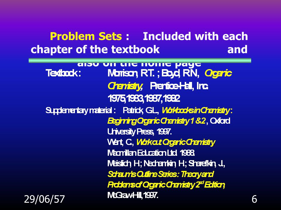 Problem Sets :. Included with each chapter of the textbook