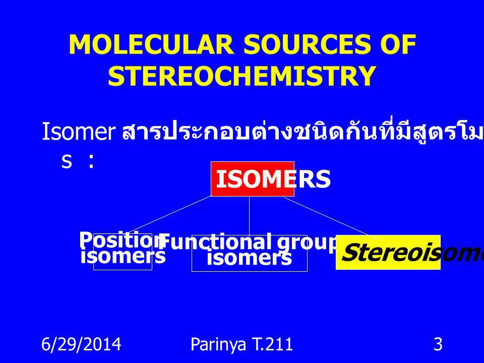 MOLECULAR SOURCES OF STEREOCHEMISTRY