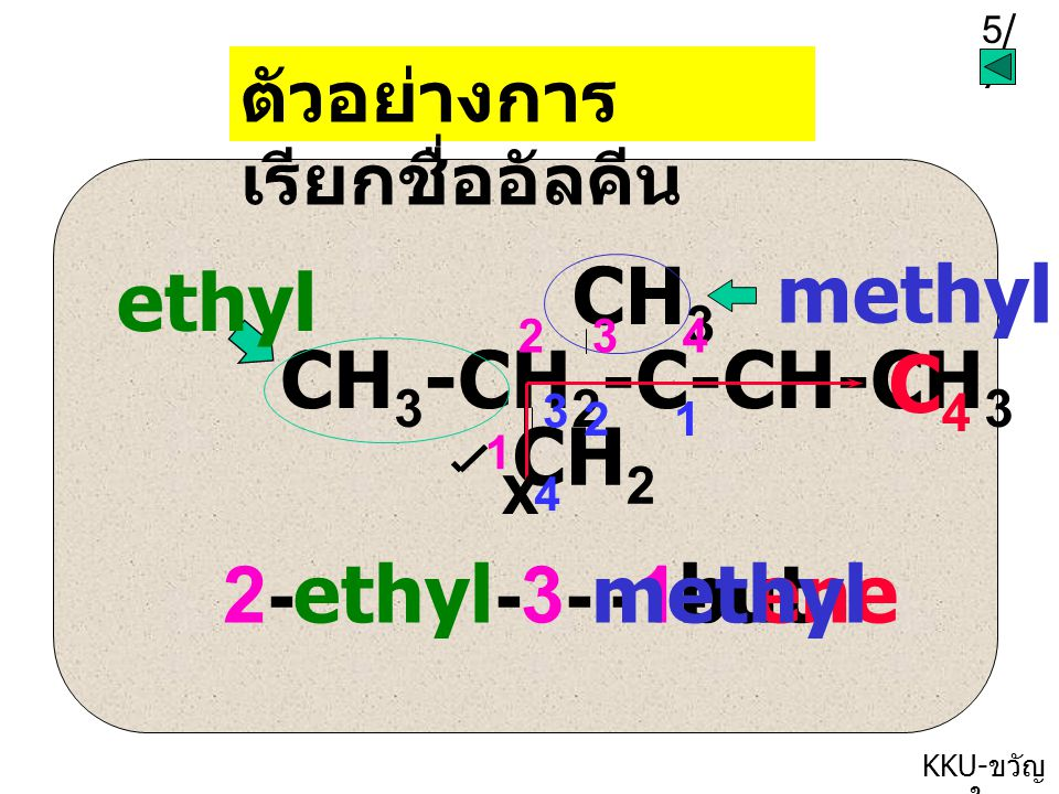 methyl ethyl CH3-CH2-C-CH-CH3 CH3 CH2 C4 2-ethyl-3-methyl -1- but ene
