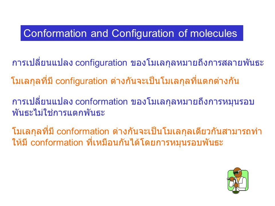 Conformation and Configuration of molecules