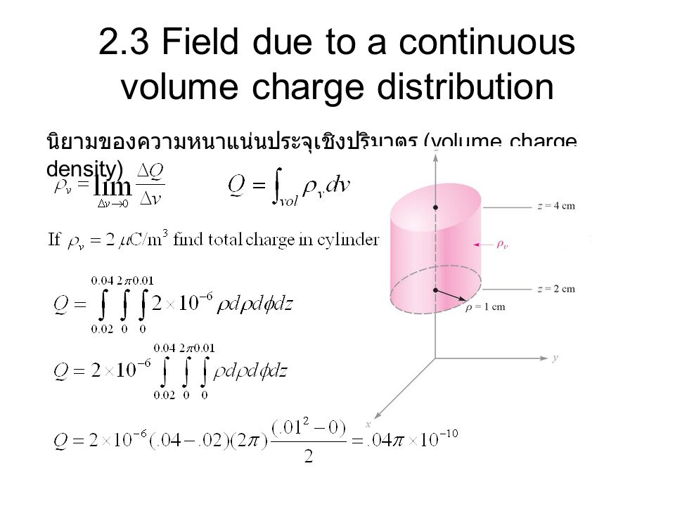 2.3 Field due to a continuous volume charge distribution