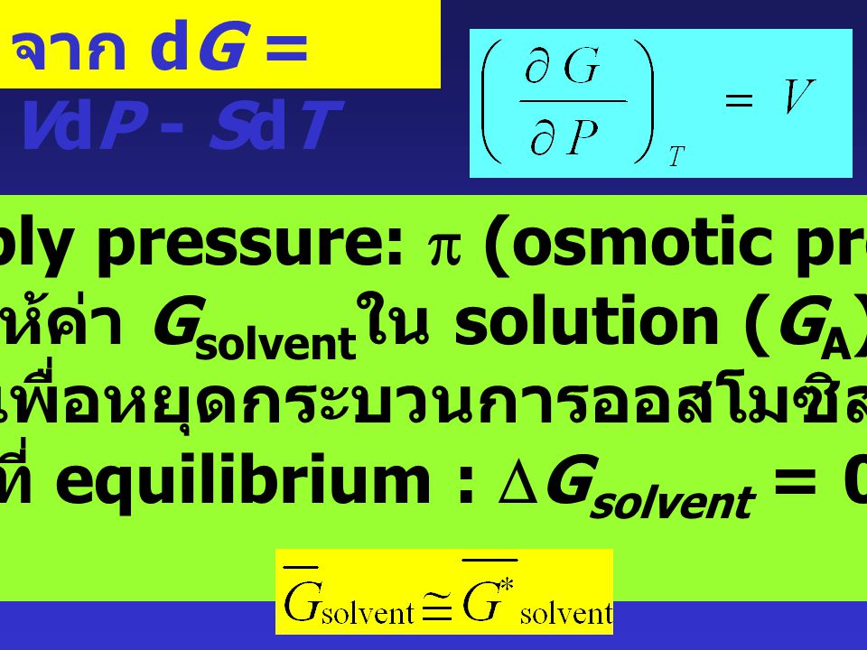 การ apply pressure: p (osmotic pressure)