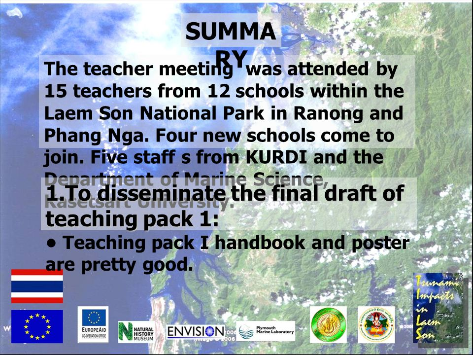 SUMMARY 1.To disseminate the final draft of teaching pack 1: