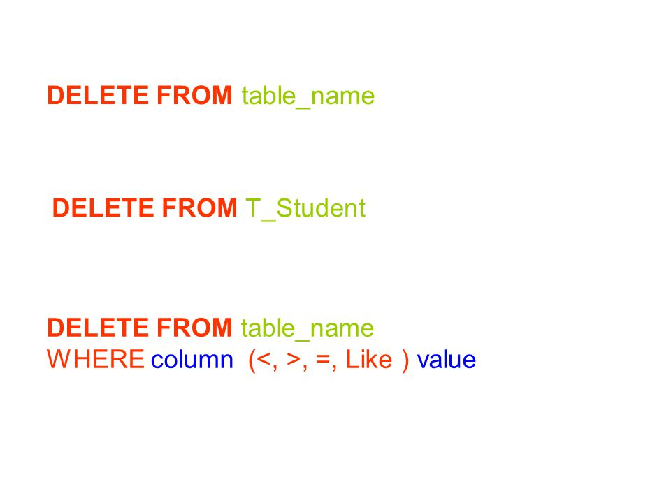 DELETE FROM table_name