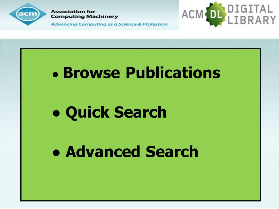 Browse Publications Quick Search Advanced Search