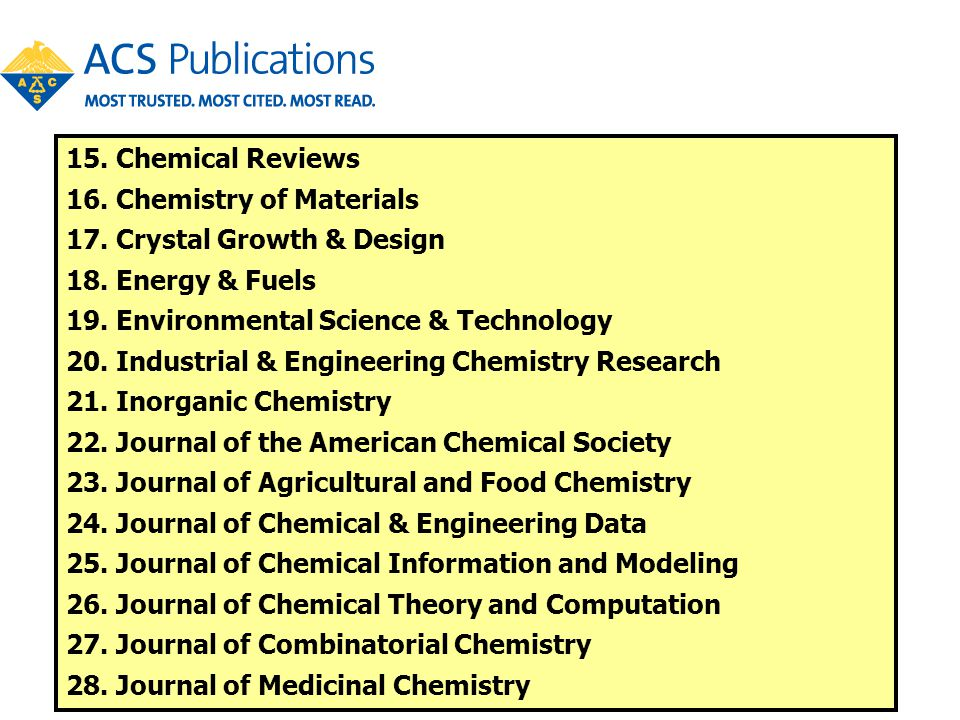 15. Chemical Reviews 16. Chemistry of Materials. 17. Crystal Growth & Design. 18. Energy & Fuels.