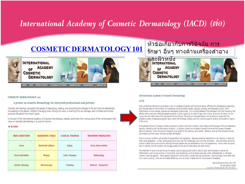 International Academy of Cosmetic Dermatology (IACD) (ต่อ)