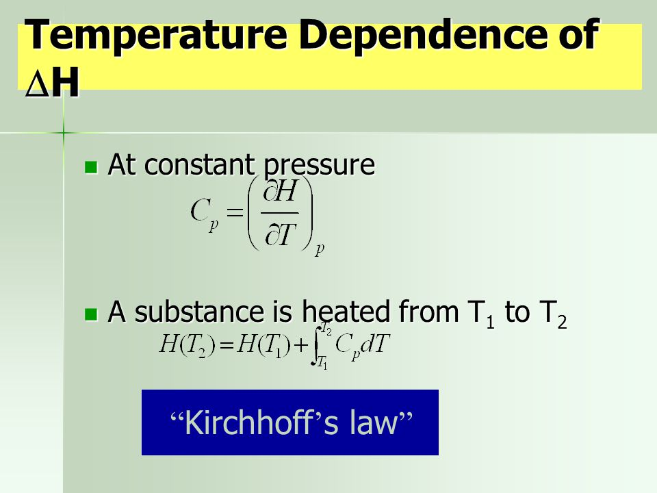 Temperature Dependence of H