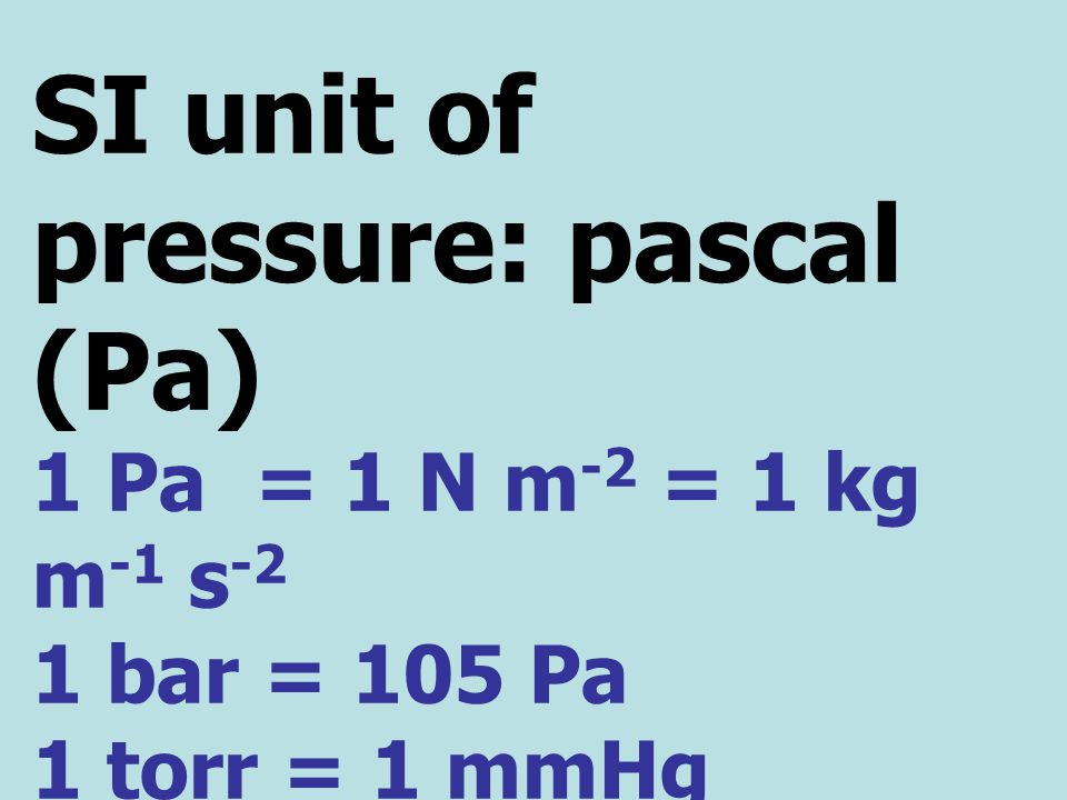 SI unit of pressure: pascal (Pa)