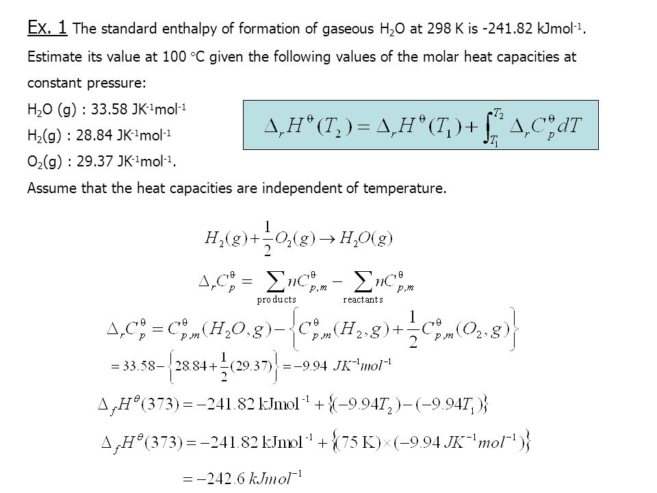 Ex. 1 The standard enthalpy of formation of gaseous H2O at 298 K is kJmol-1.