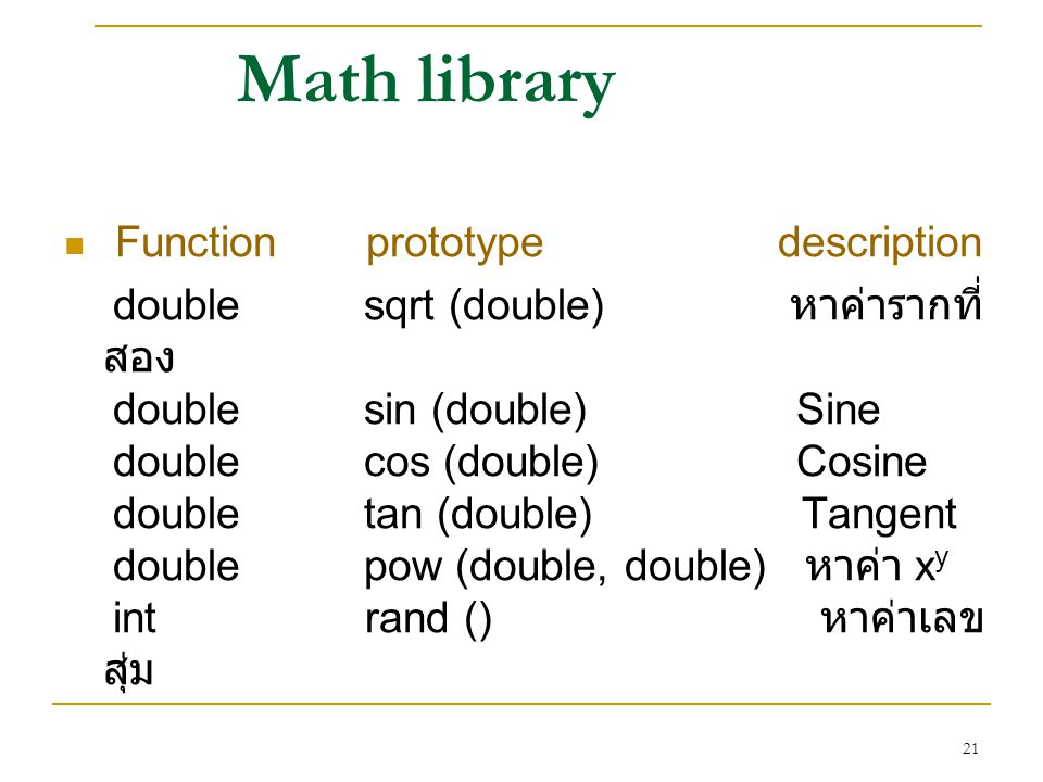 Math library Function prototype description