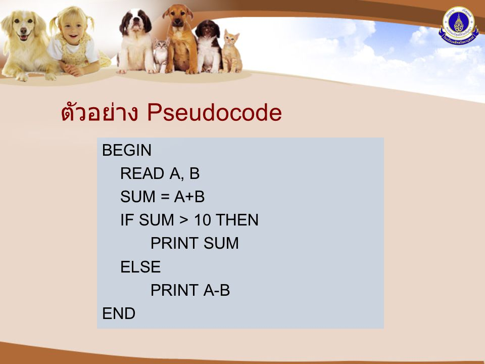 ตัวอย่าง Pseudocode BEGIN READ A, B SUM = A+B IF SUM > 10 THEN