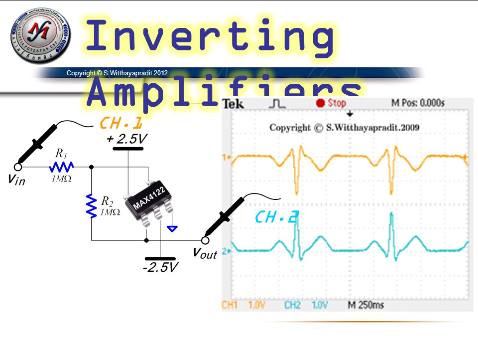 Inverting Amplifiers Copyright © S.Witthayapradit 2012 CH.1 CH.2