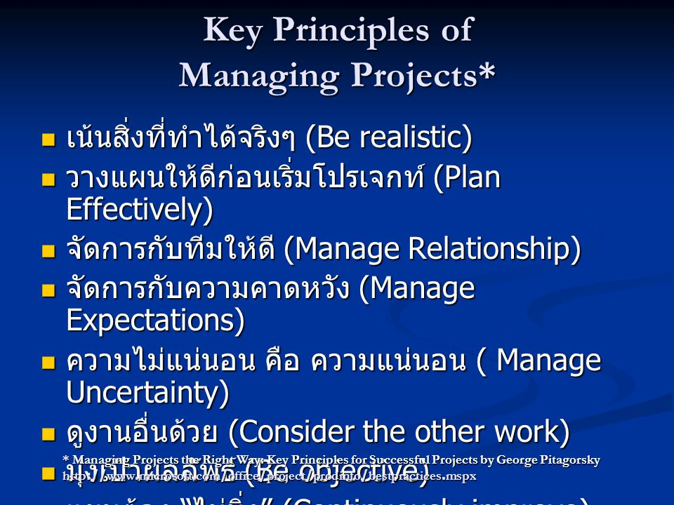 Key Principles of Managing Projects*