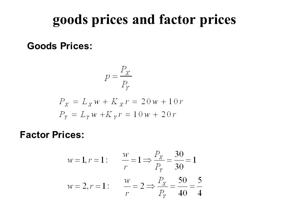 goods prices and factor prices