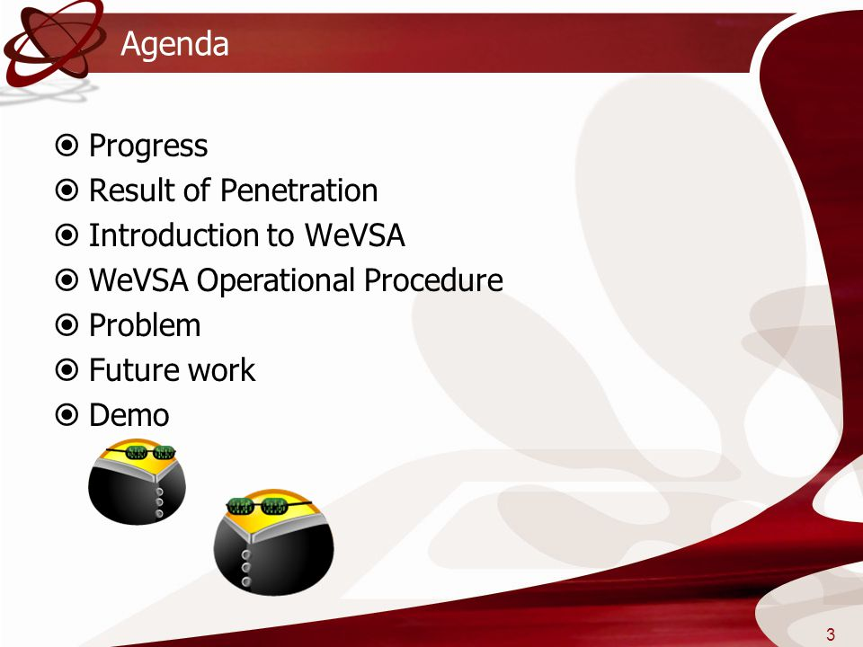 Agenda Progress Result of Penetration Introduction to WeVSA
