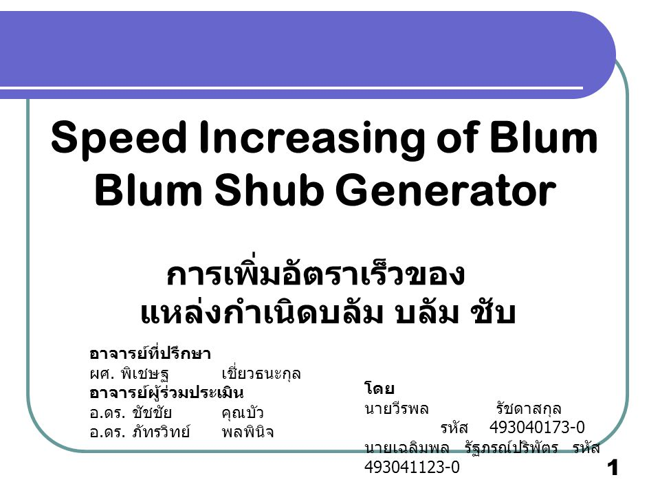 Speed Increasing of Blum Blum Shub Generator