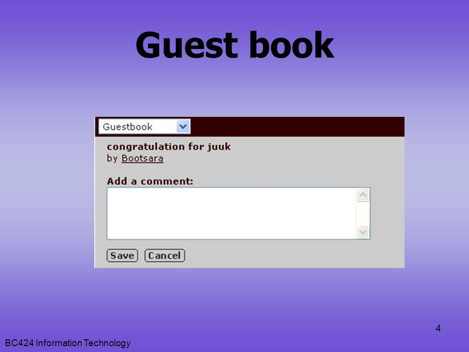 Guest book BC424 Information Technology
