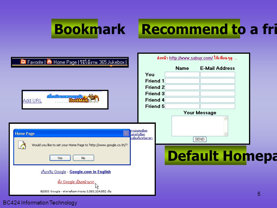 Bookmark Recommend to a friend Default Homepage