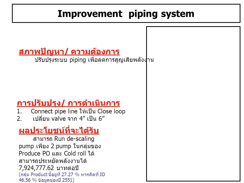 Improvement piping system