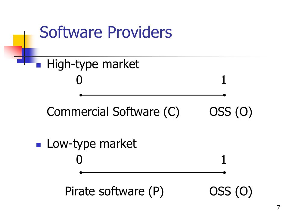 Software Providers High-type market 0 1
