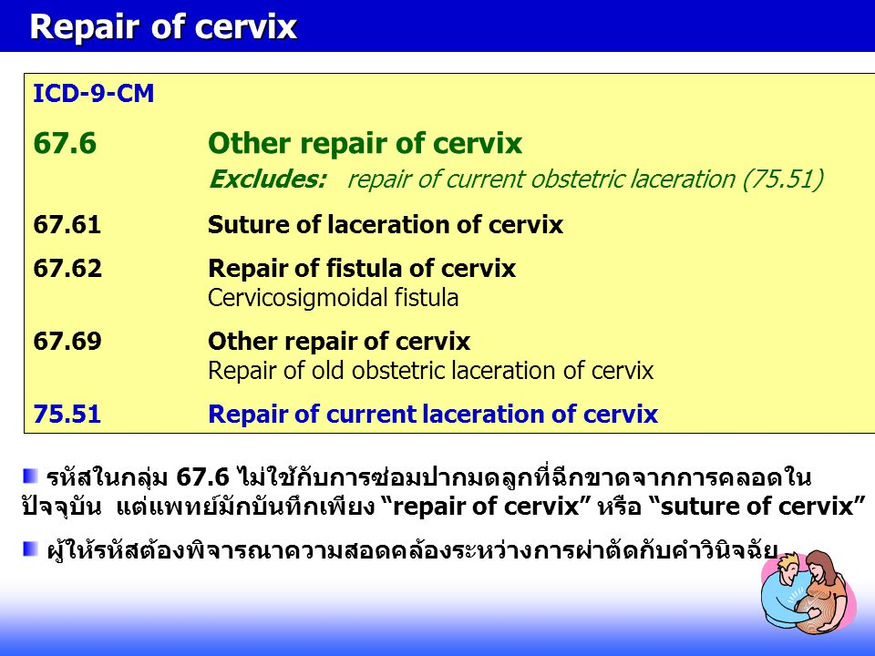 Repair of cervix ICD-9-CM. 67.6 Other repair of cervix Excludes: repair of current obstetric laceration (75.51)