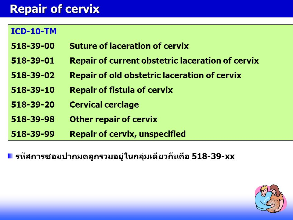 Repair of cervix ICD-10-TM 518-39-00 Suture of laceration of cervix