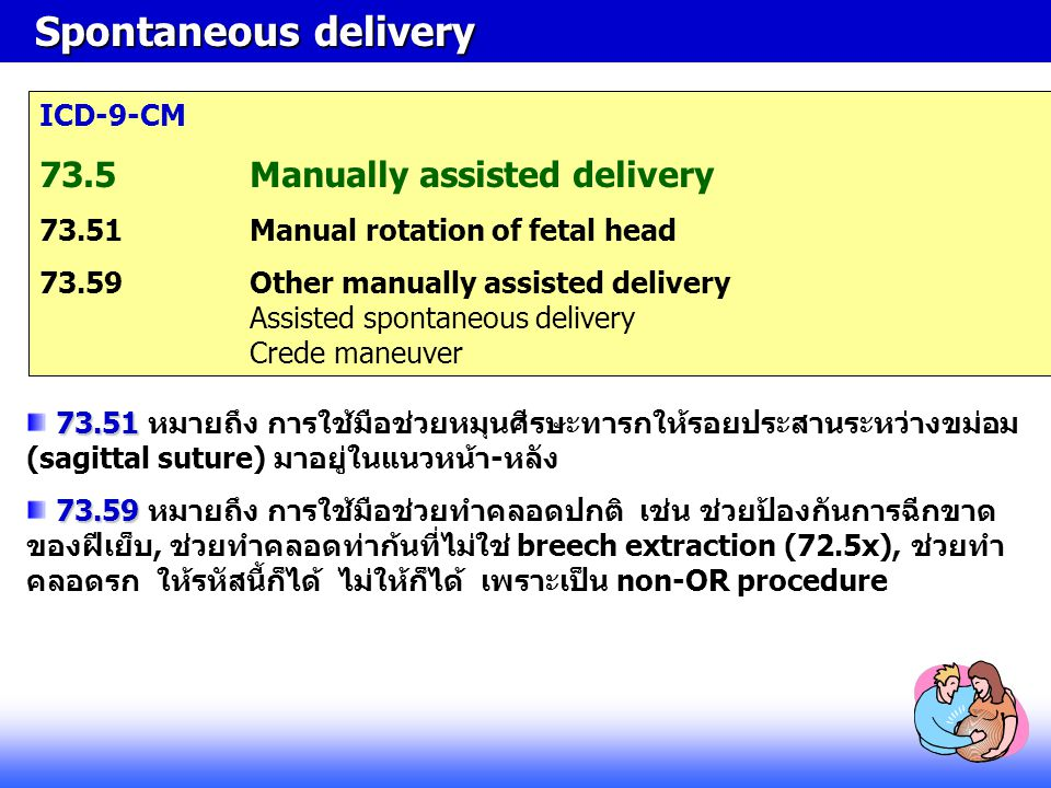 Spontaneous delivery 73.5 Manually assisted delivery ICD-9-CM