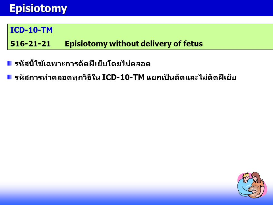 Episiotomy ICD-10-TM 516-21-21 Episiotomy without delivery of fetus