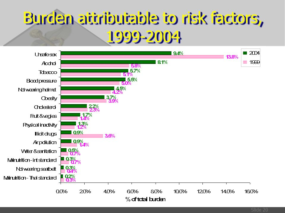 Burden attributable to risk factors, 1999-2004