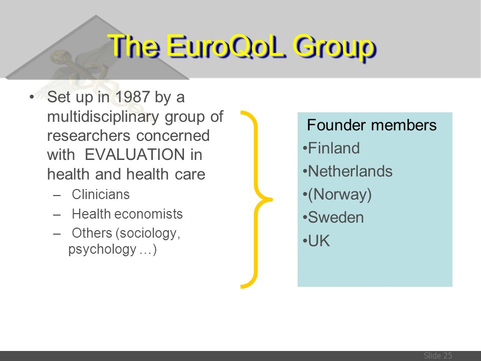 The EuroQoL Group Set up in 1987 by a multidisciplinary group of researchers concerned with EVALUATION in health and health care.
