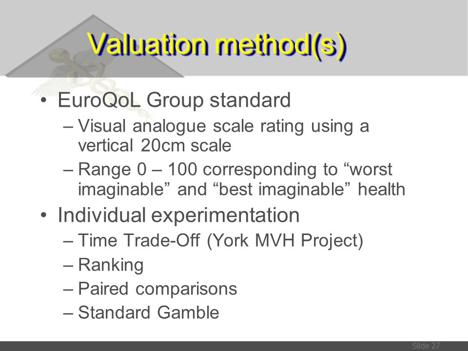 Valuation method(s) EuroQoL Group standard Individual experimentation